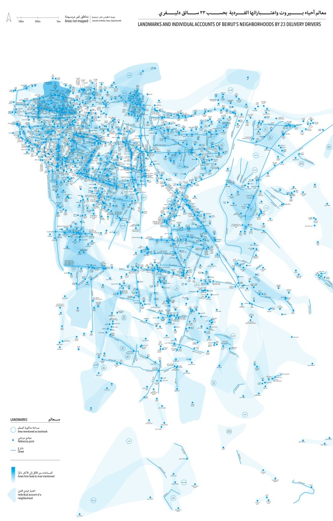 landmarks and individual accounts of Beirut's neighborhoods by 23 male syrian delivery drivers
